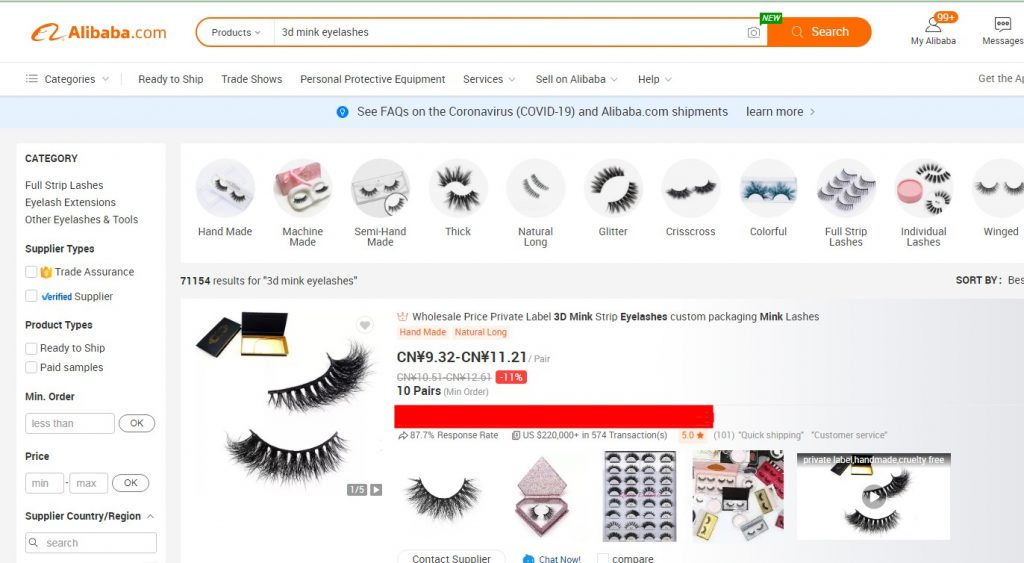 use alibaba to find vendors for your eyelash business